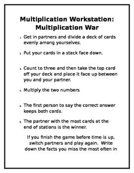 Multiplication Workstate