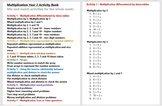 Multiplication Year 2 Activity Bank (Differentiated)