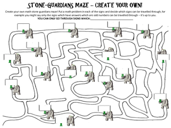 Multiplication activity: Multiplication Maze - Stone Guardians