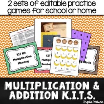 Multiplication & Addition KITs: Editable math fact practice games {bundle}