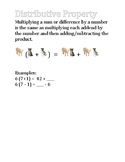 Multiplication and Addition Properties with Visuals (Cats,