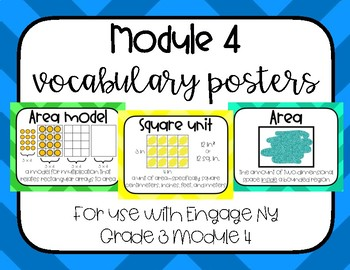 Multiplication and Area Vocabulary Word Wall Engage NY Grade 3 Module 4