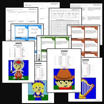 4th Grade Multiplication and Division Worksheets and Task Cards Bundle