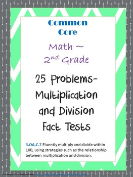 Multiplication and Division 25 Question Fact Tests