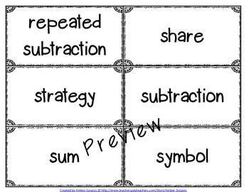 Operations and Algebraic Thinking Academic Vocabulary Package for 3rd Grade