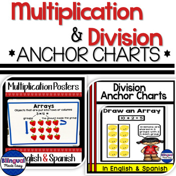 Multiplication and Division Anchor Chart Posters Bundle in English & Spanish