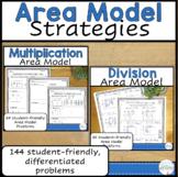 Multiplication and Division Area Model Worksheet Bundle