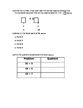 Multiplication and Division Assessment- 3rd grade