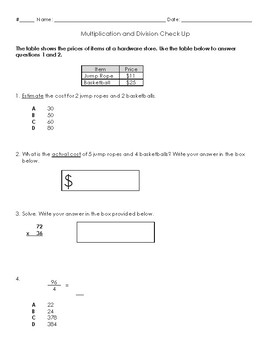 Multiplication and Division Assessment