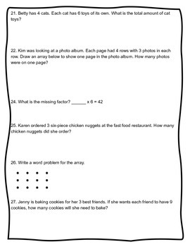 Multiplication and Division Assessment CCSS 3.NBT.3