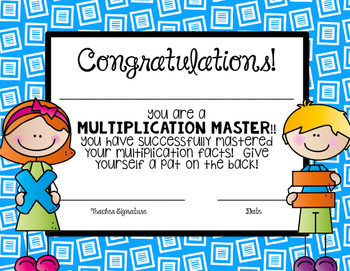 Multiplication and Division Award Certificates