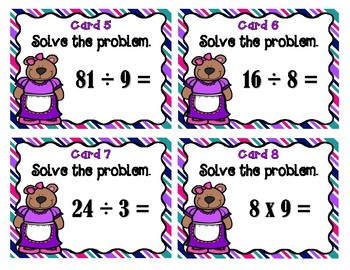 Multiplication and Division Bear Scoot - Set 2