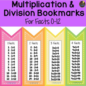 Multiplication and Division Bookmarks Bundle