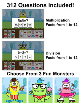 Monster Multiplication and Division Game - Math Centers