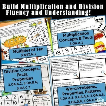 Multiplication Games and Activities - Division Games and Activities - Bundled