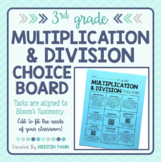 Multiplication and Division Choice Board - 3rd Grade, Editable