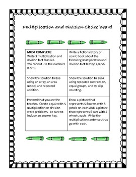 Multiplication and Division Choice Board Activity No Prep with Rubric