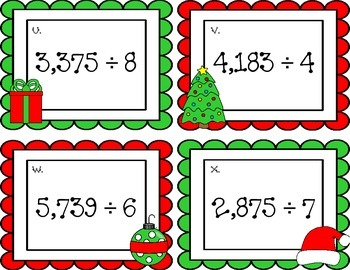 Multiplication and Division Christmas Task Cards