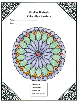 Multiplication and Division Color-By-Numbers with Decimals