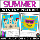 End of Year Activity l Summer l Multiplication and Division Color by Number