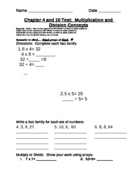 Multiplication and Division Concepts Assessment
