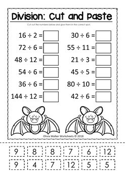 Multiplication and Division Cut and Paste Math Worksheets ...