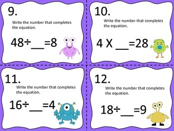 Multiplication and Division Equations---Monster Style