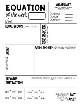 Multiplication and Division Equations of the Week