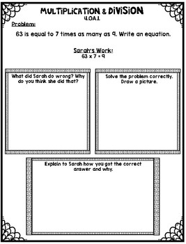 Multiplication and Division Error Analysis Tasks for 4th Grade