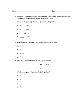 Multiplication and Division Exit Ticket