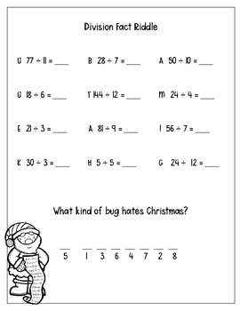 Multiplication and Division Fact Christmas Riddles