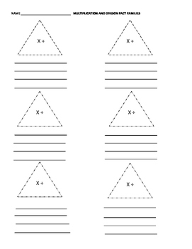 Triangle Multiplication and Division Fact Families