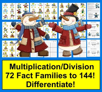Winter Math:  Multiplication and Division Fact Families - 78 Fact Families