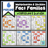 Multiplication and Division Fact Families Worksheet BUNDLE