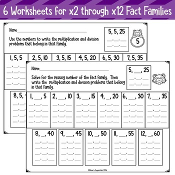 Multiplication And Division Fact Family No Prep Printables Tpt