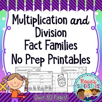 Multiplication and Division Fact Families Mega Pack: 80+ N