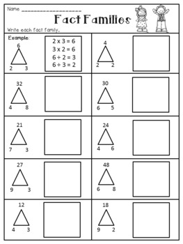 Multiplication and Division Fact Families Worksheets by Dana's ...