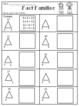 Multiplication and Division Fact Families Worksheets by ...