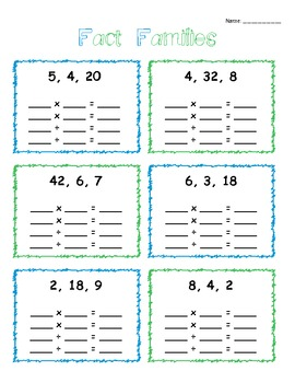 Multiplication And Division Fact Family Fun By Danielle Gladeau  Tpt