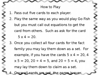 Multiplication and Division Fact Family Go Fish