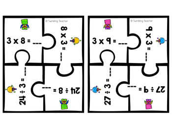Multiplication and Division Fact Family Puzzles: Facts 1-12