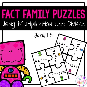 Multiplication and Division Fact Family Puzzles: Facts 1-5