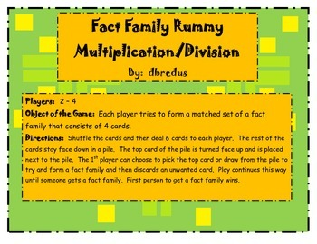 Multiplication and Division Fact Family Rummy