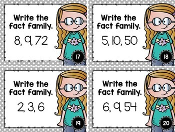 Multiplication and Division Fact Families Task Cards
