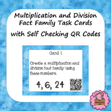 Multiplication and Division Fact Family Task Cards with Self Checking QR Codes