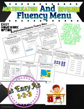Multiplication and Division Fact Fluency Menu (Homework)
