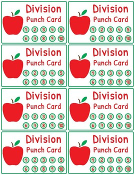 Multiplication and Division Fact Fluency Punch Cards: Apple Theme