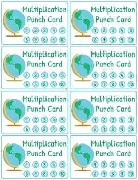 Multiplication and Division Fact Fluency Punch Cards: Travel (Globe) Theme