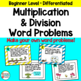 Multiplication and Division Math Word Problems for Beginners EDITABLE