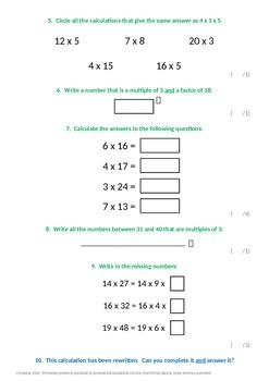Multiplication and Division: Factor Pairs and Commutativity